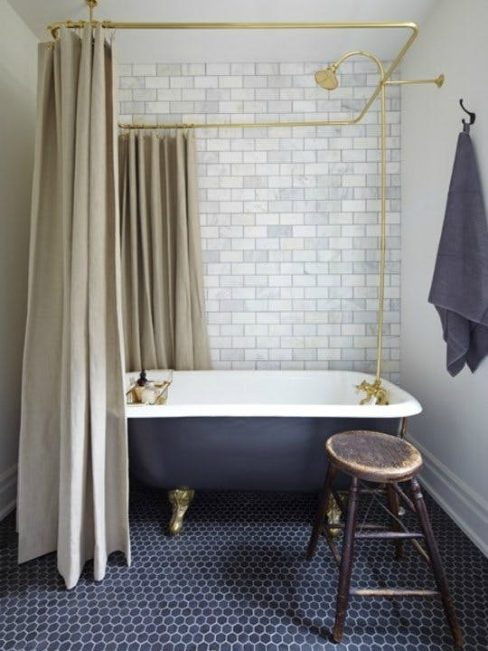 White and Gold Bathroom Design Plan- Eclectic Bathroom Design Plan