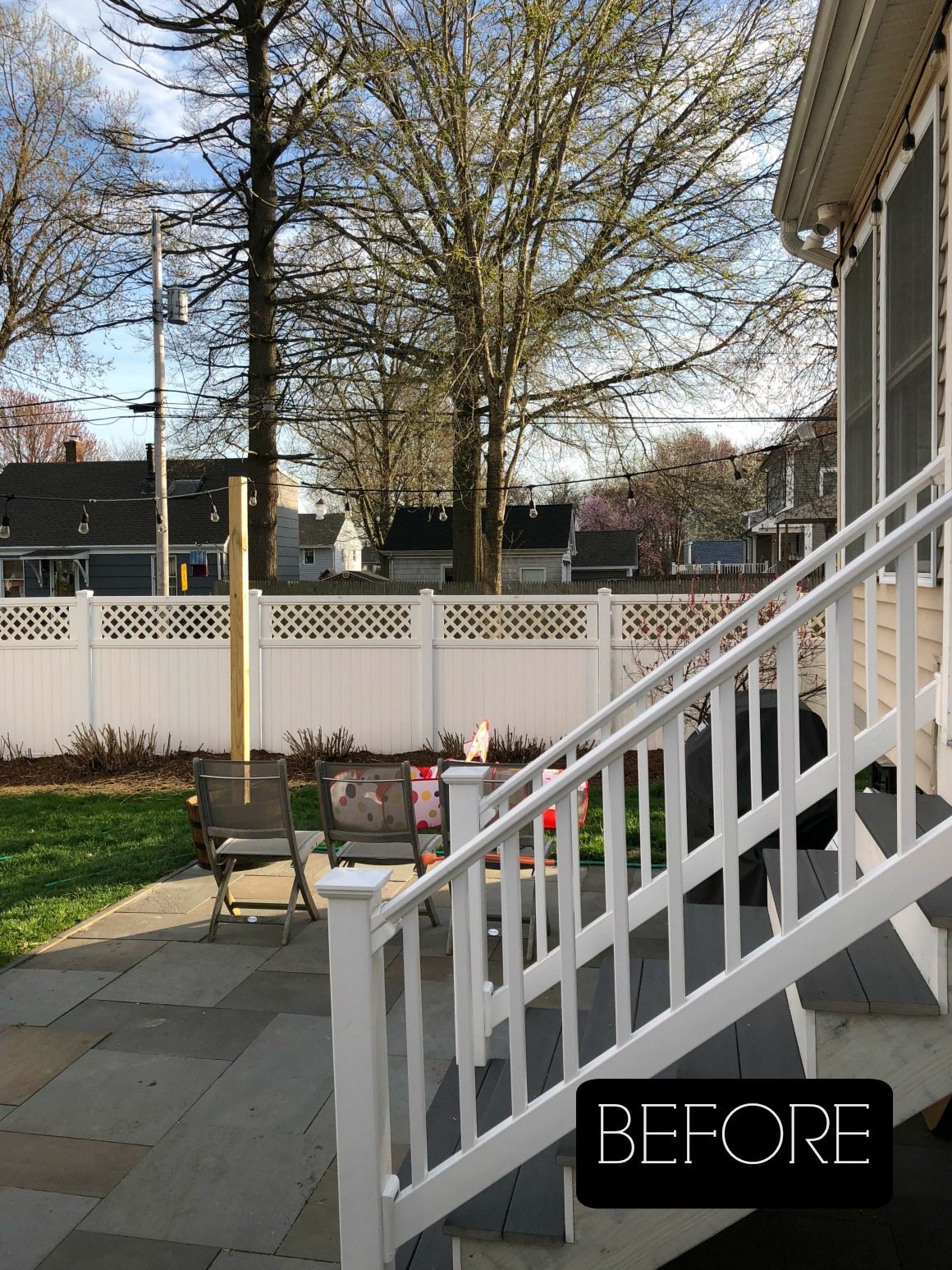 BEFORE- Cozy Small Backyard with Fire pit