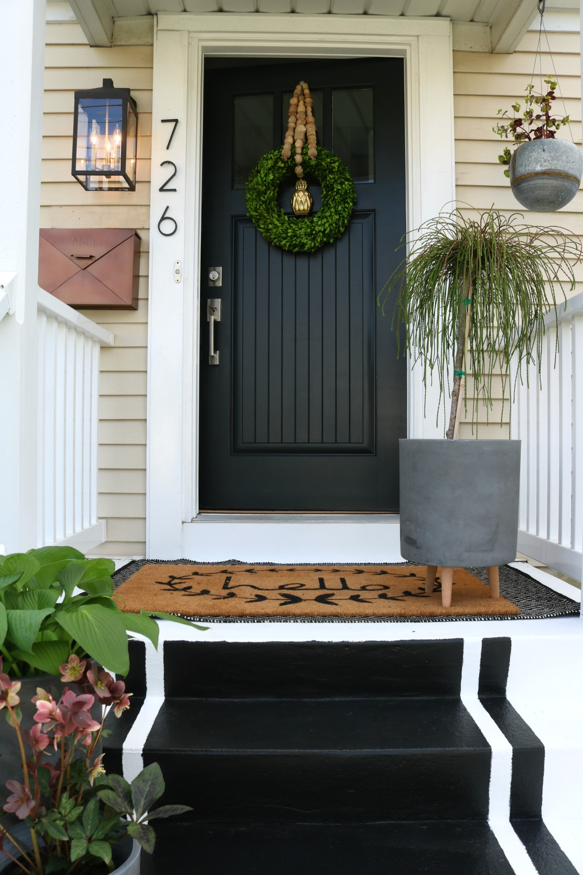BEFORE Front Door Painted In Benjamin Moore Black Knight
