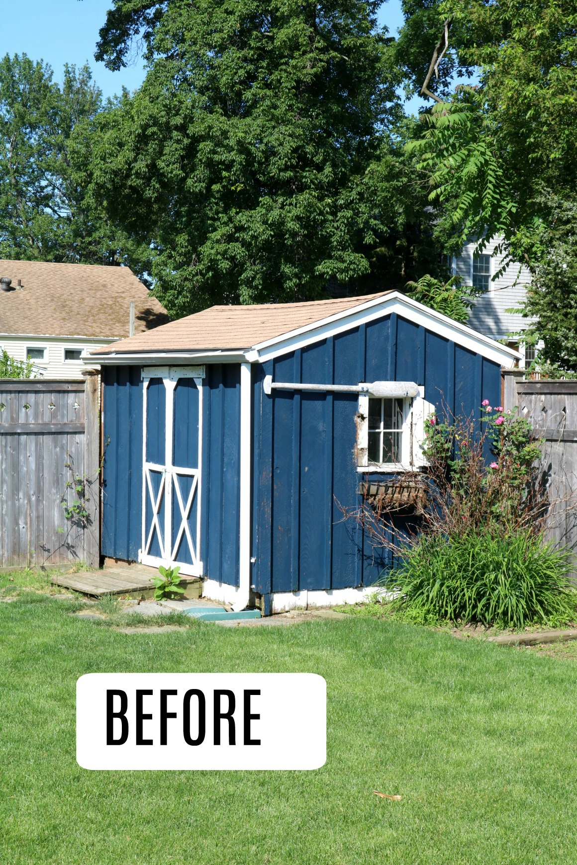 BEFORE- Black Shed Makeover