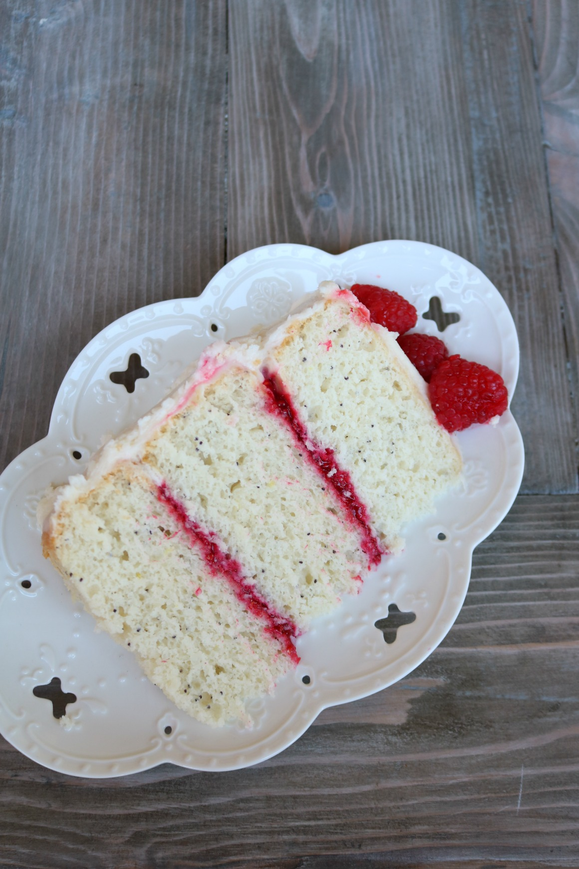 EASY- Lemon Poppyseed Raspberry Cake with Cream Cheese Frosting
