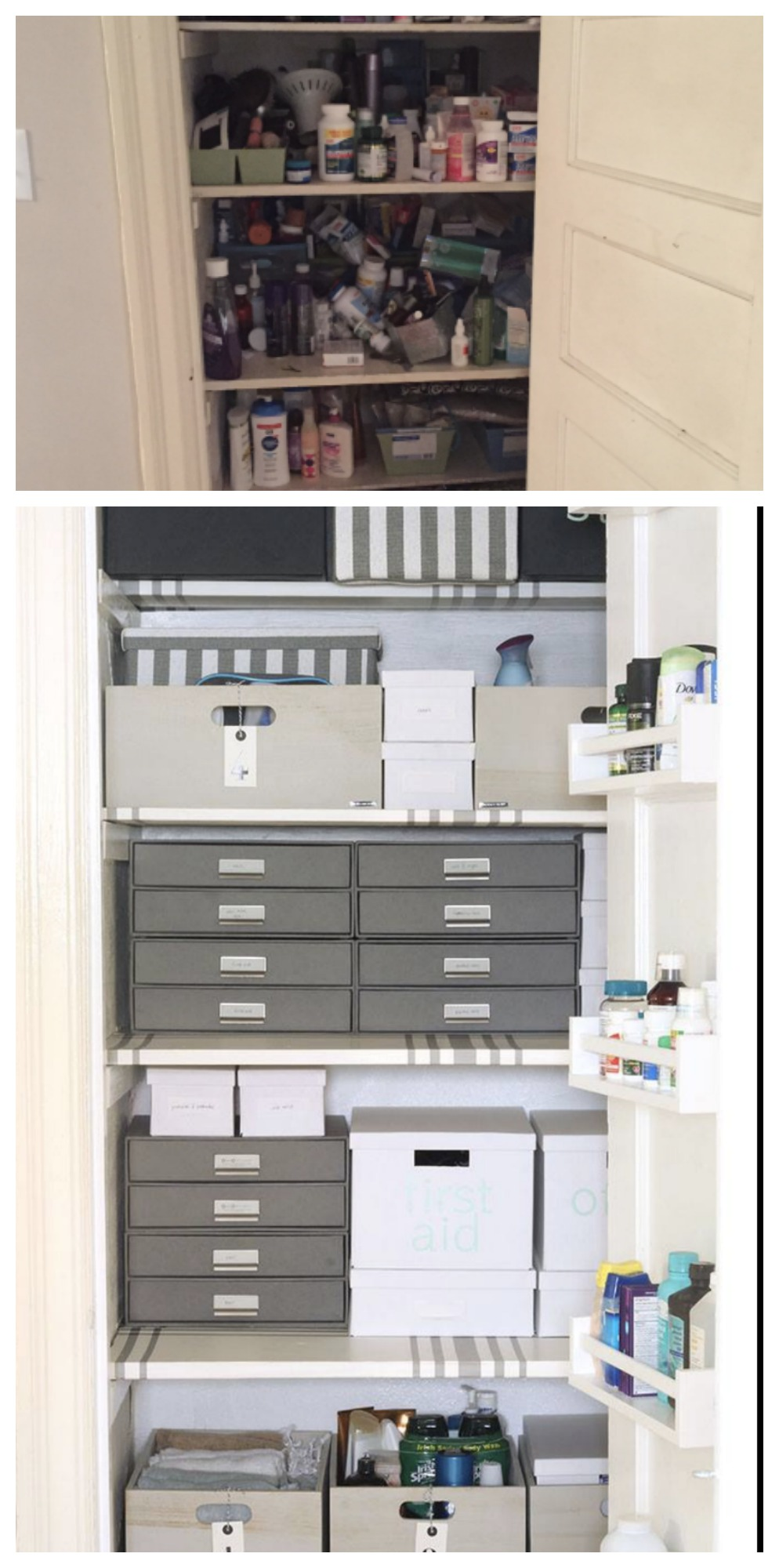 Linen Closet Makeover BEFORE and AFTER