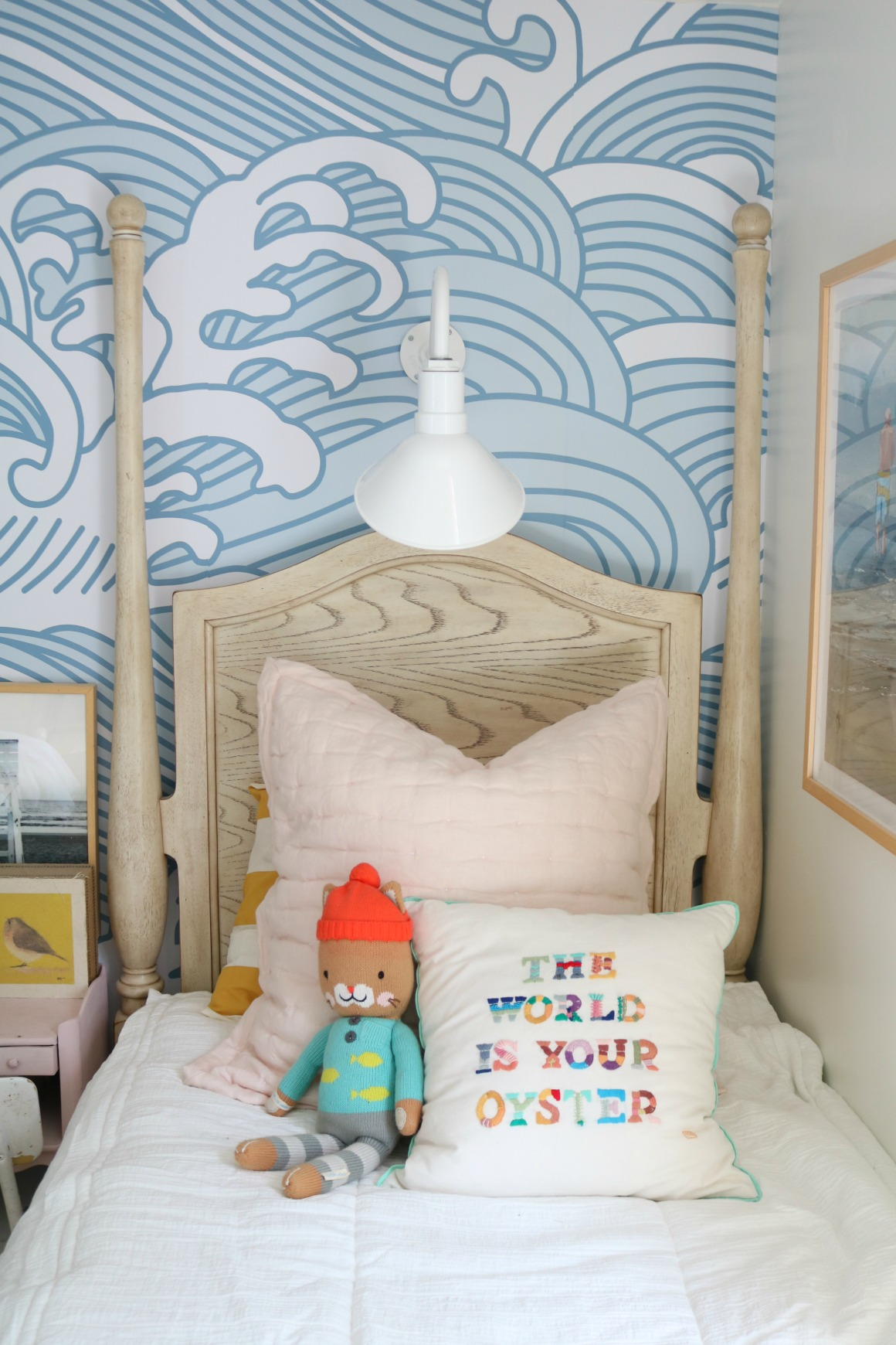 Girls Shared Bedroom NEW Blue Waves Wallpaper - Nesting ...