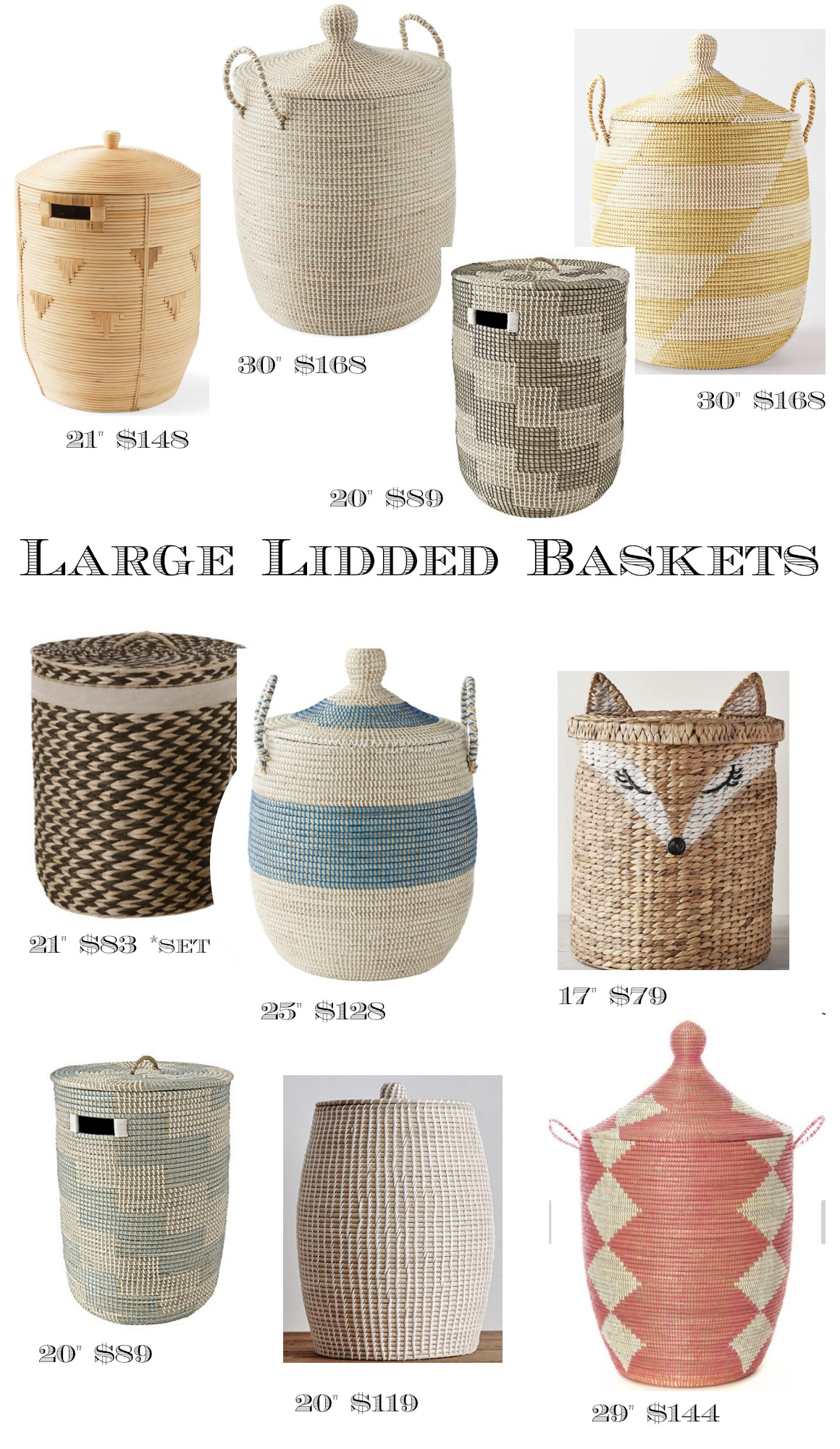 Large Assorted Baskets with Lids