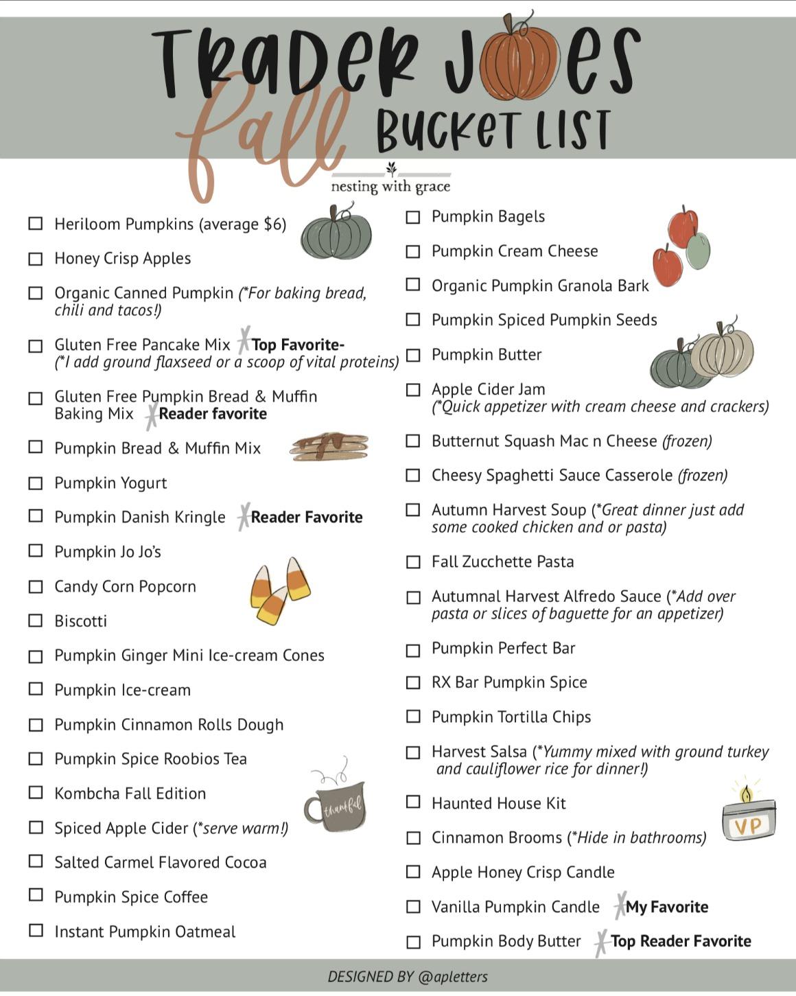 Trader Joe's Fall Bucket List- Free Printable