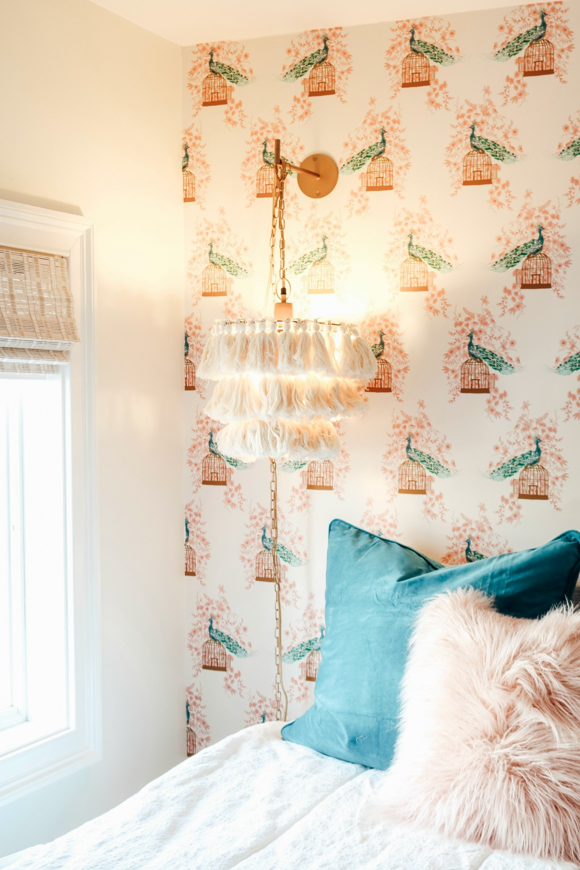 Small Girls Bedroom Makeover with Wallpaper Accent Wall - Nesting ...