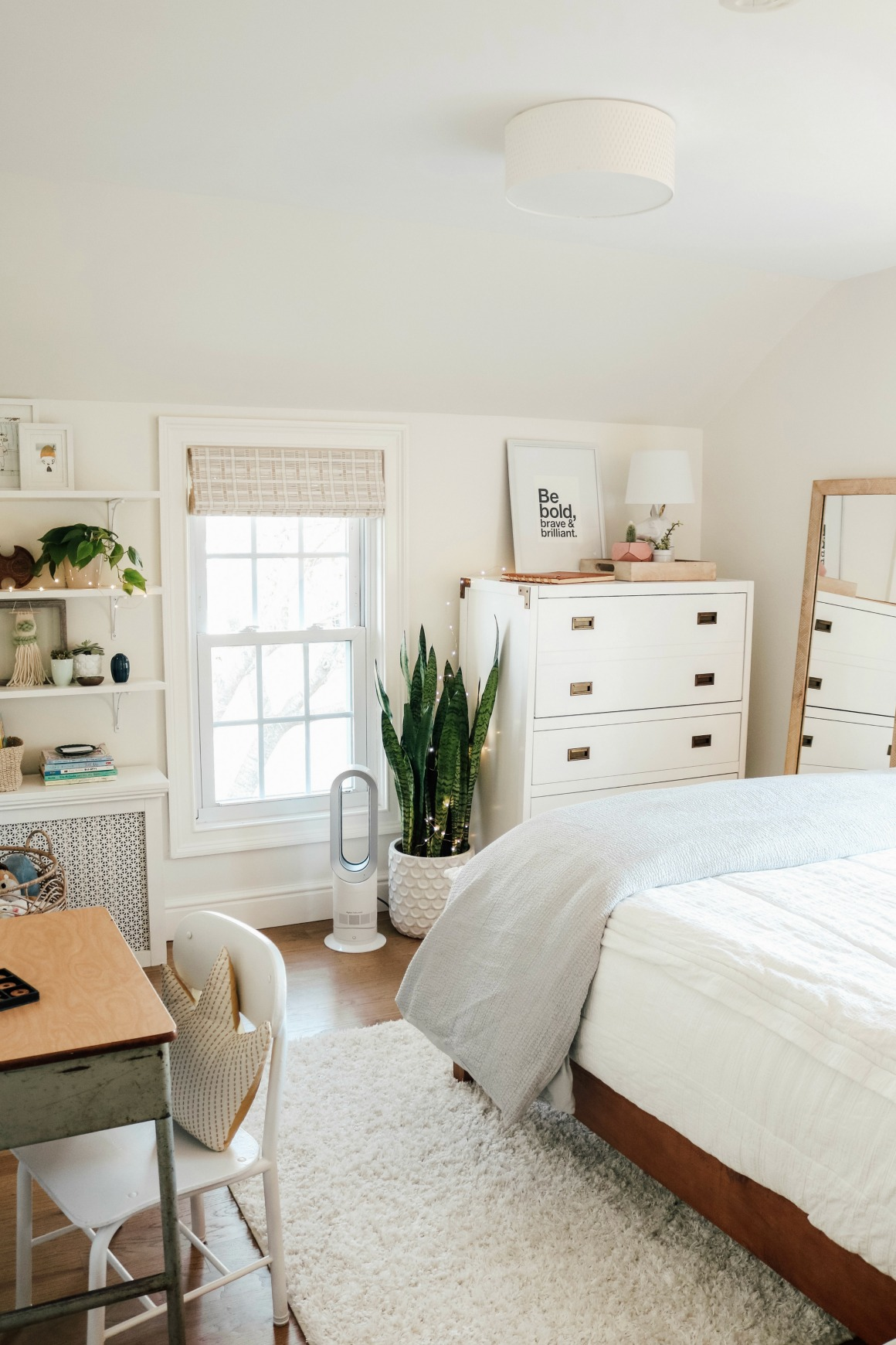 Small Girls Bedroom Makeover with Wallpaper Accent Wall ... on Small Bedroom Ideas For Women  id=49548