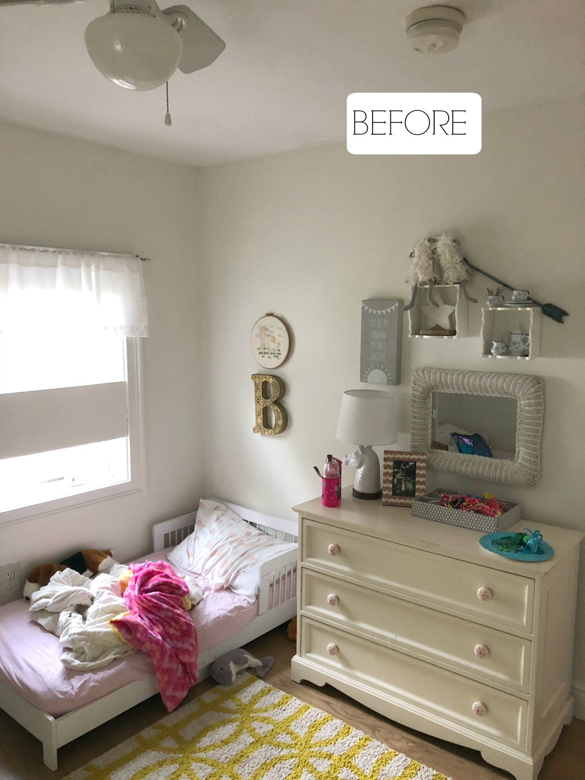 Small Girls Bedroom Makeover with Wallpaper Accent Wall ... on Girls Bedroom Ideas For Small Rooms  id=76786