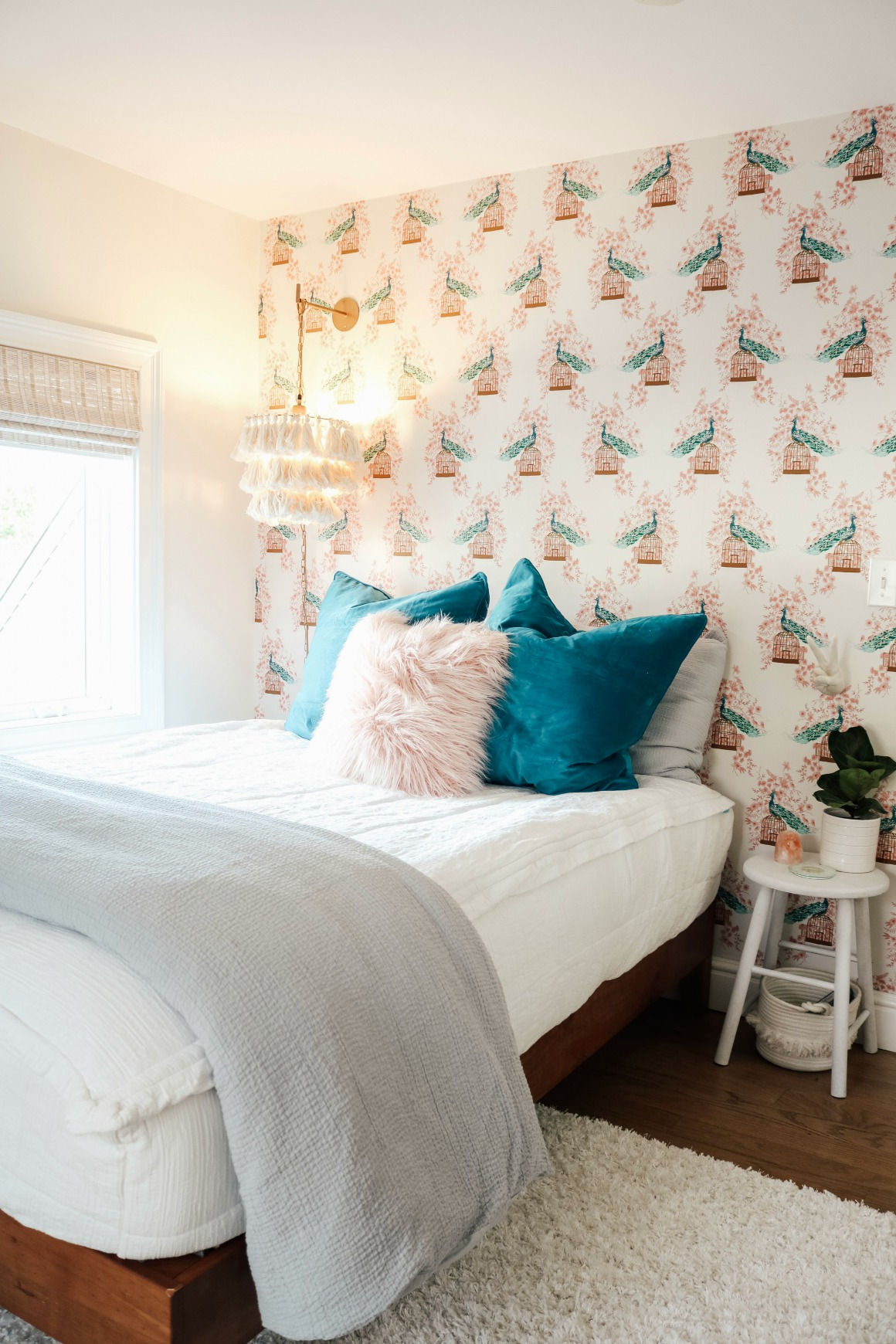 Small Girls Bedroom Makeover with Wallpaper Accent Wall ... on Girls Bedroom Ideas For Small Rooms  id=37142