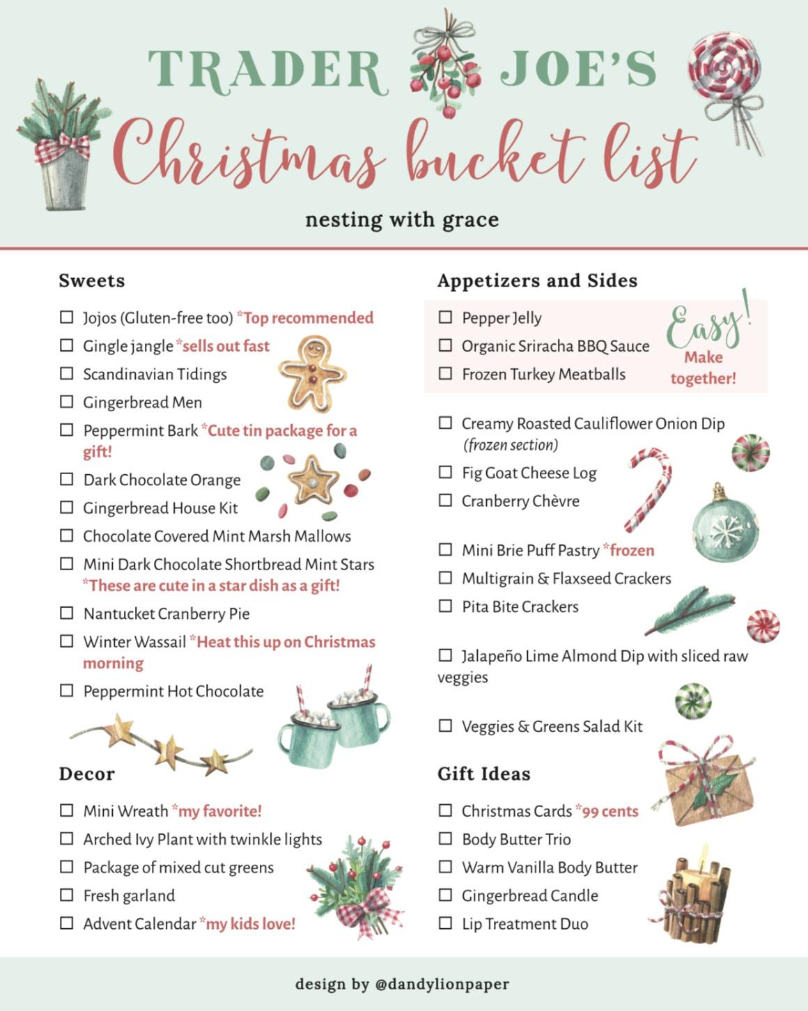 Trader Joe's Christmas Shopping List