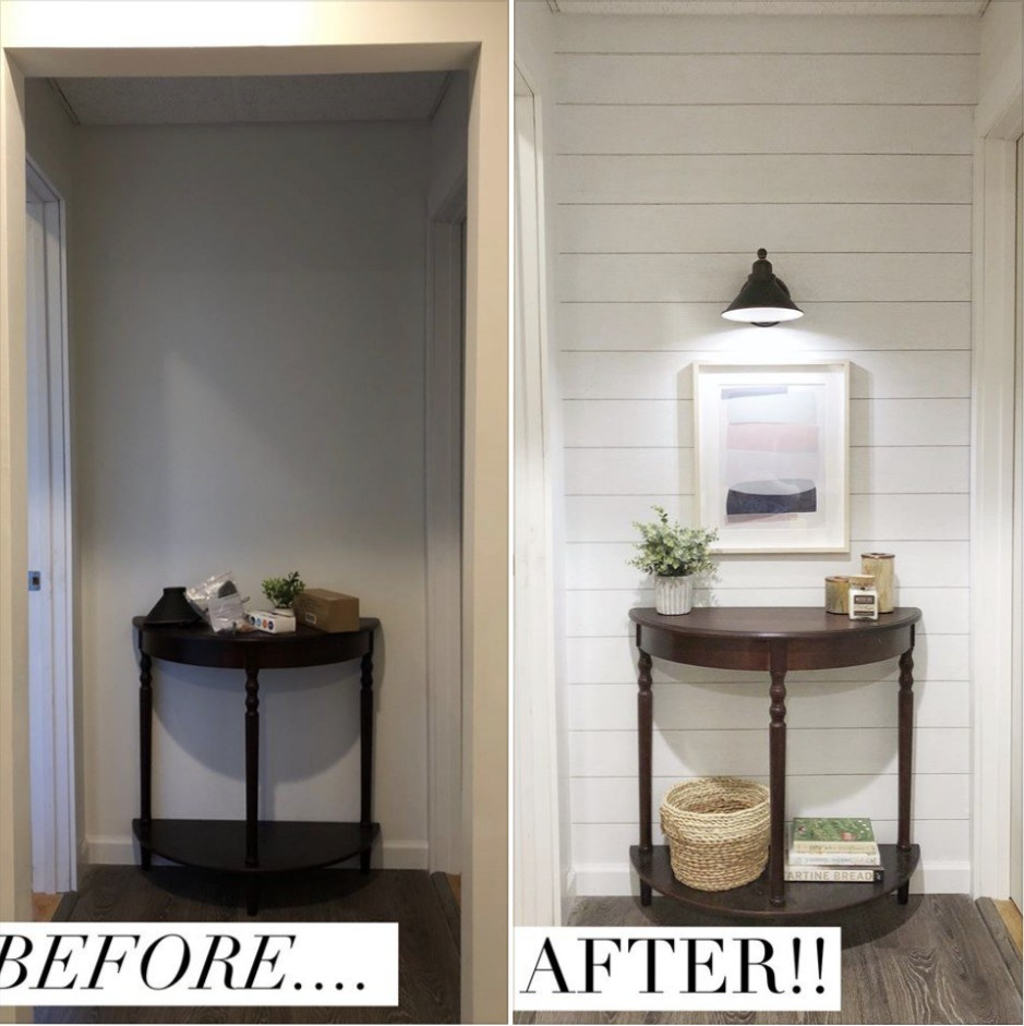 Over in Nesting with Grace Facebook Group (5,700 members!) Laura Jean shared her hallway. Such a great BEFORE and AFTER! Amazing what THIS Peel and Stick ...