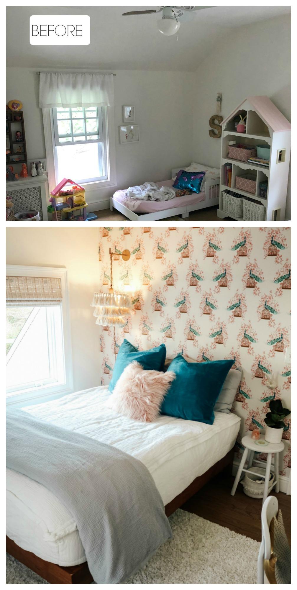 #33- Wallpaper Transformation- Bedroom Wallpaper Makeover (Paper was thrifted! Originally from Target)