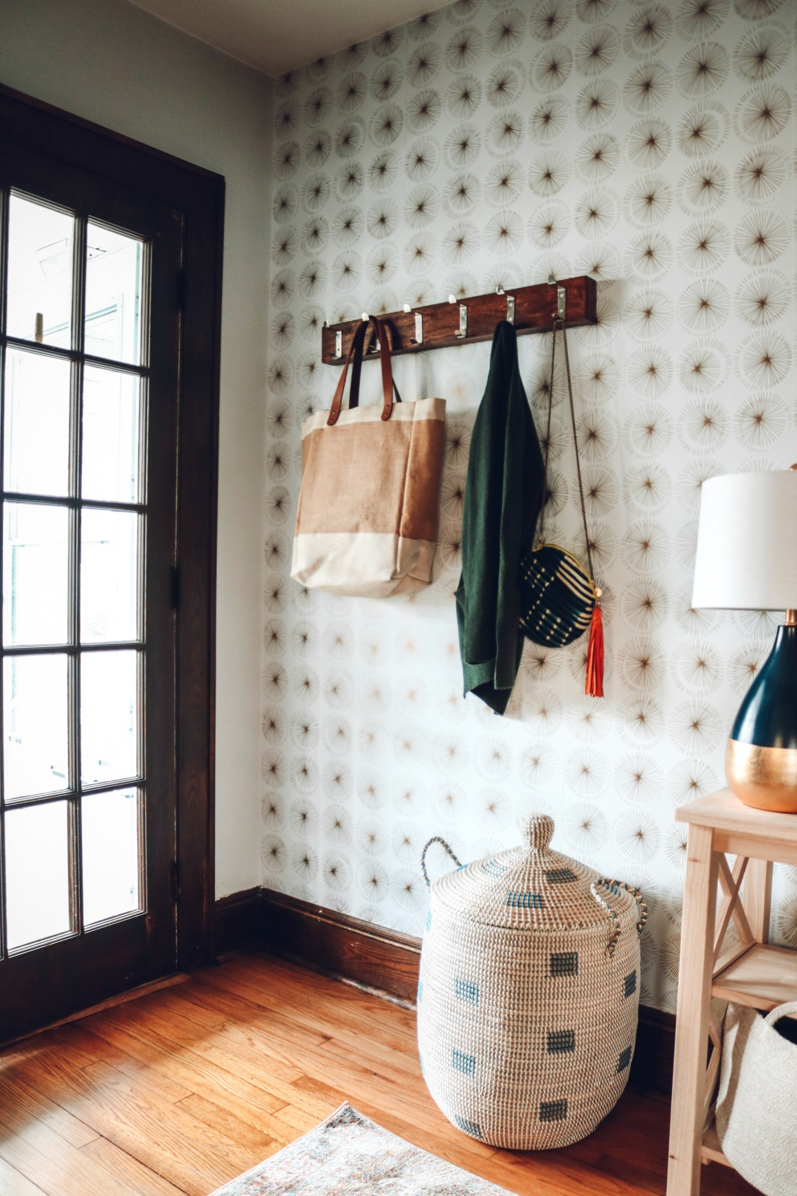 Entry Makeover With Removable Wallpaper And No Closet Nesting With Grace
