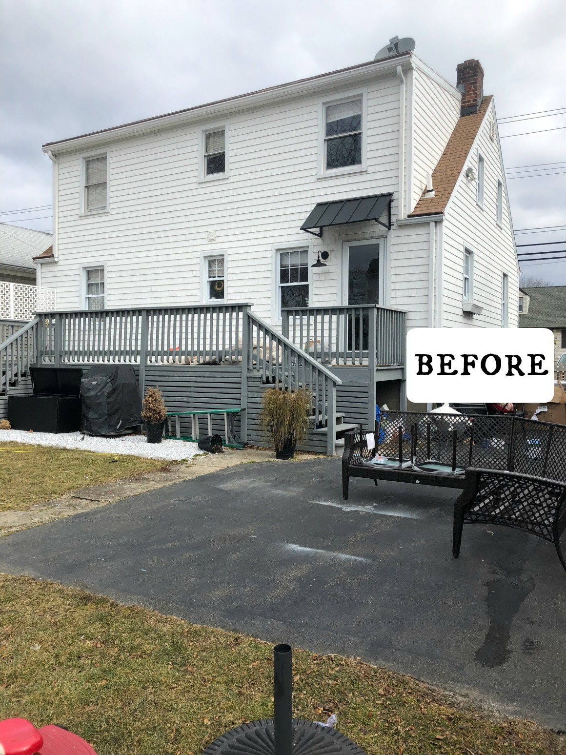 Outdoor Painted Cement Patio Makeover - Nesting With Grace on Backyard Patio Makeover id=42884