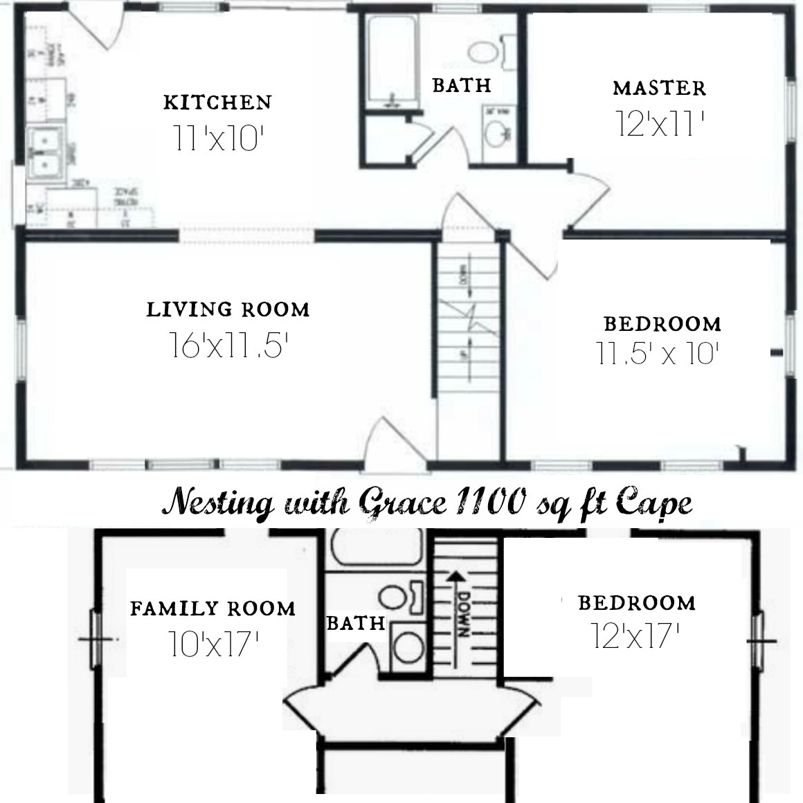 Complete Before And After S 1100 Sq Ft Cape Floor Plan And Future Nesting With Grace
