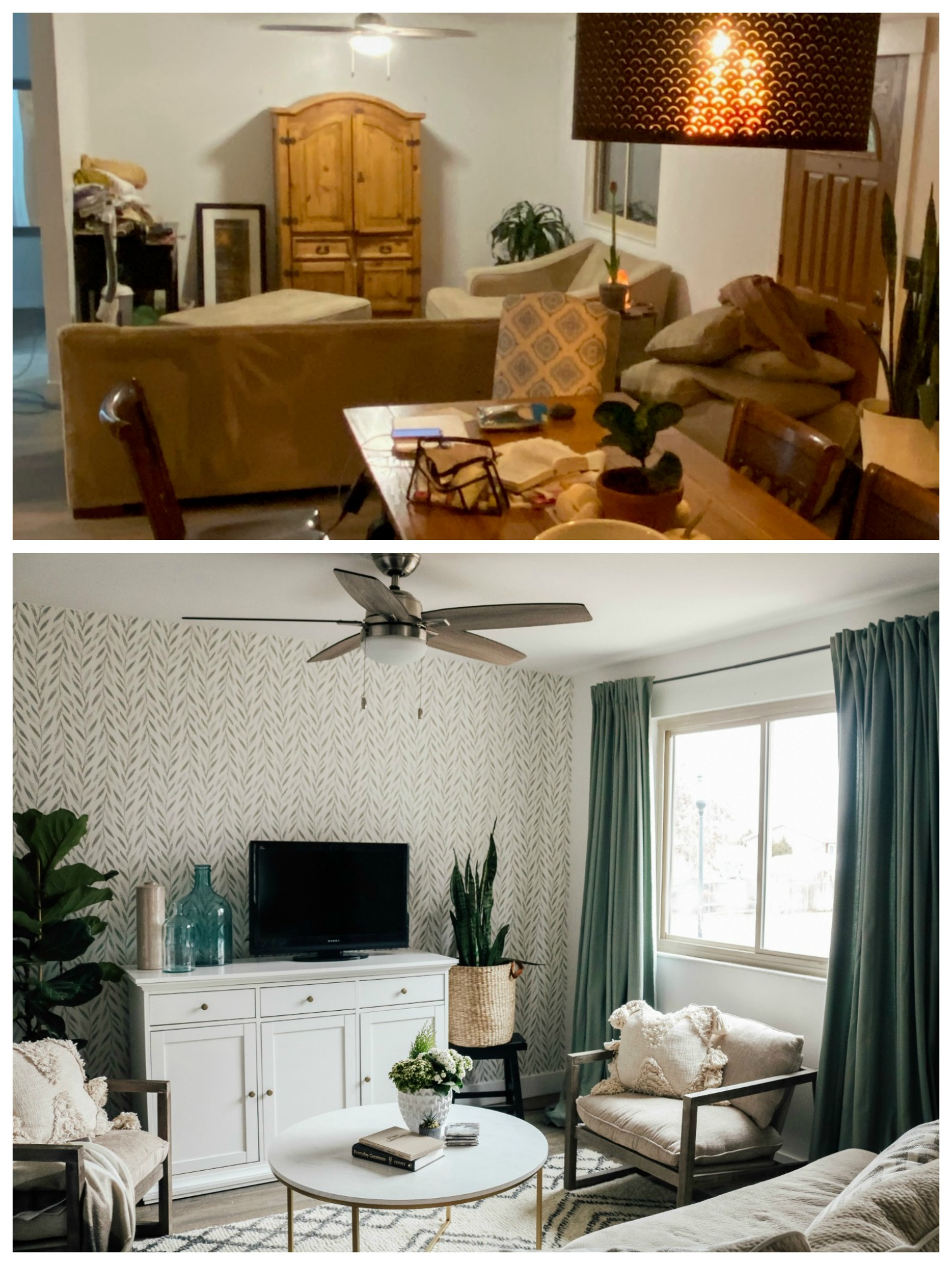 Mini Affordable Living Room Update with Joanna Gaines Wallpaper