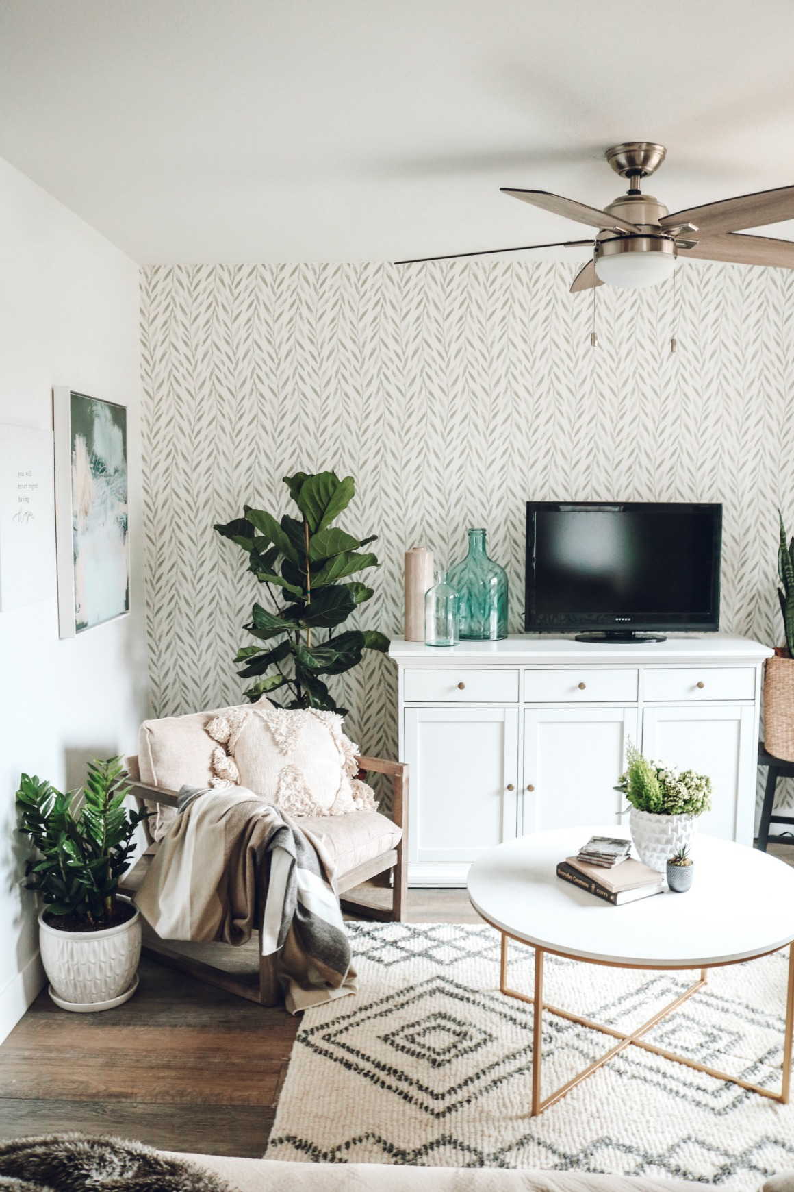 Mini Affordable Living Room Update With Joanna Gaines Wallpaper Nesting With Grace