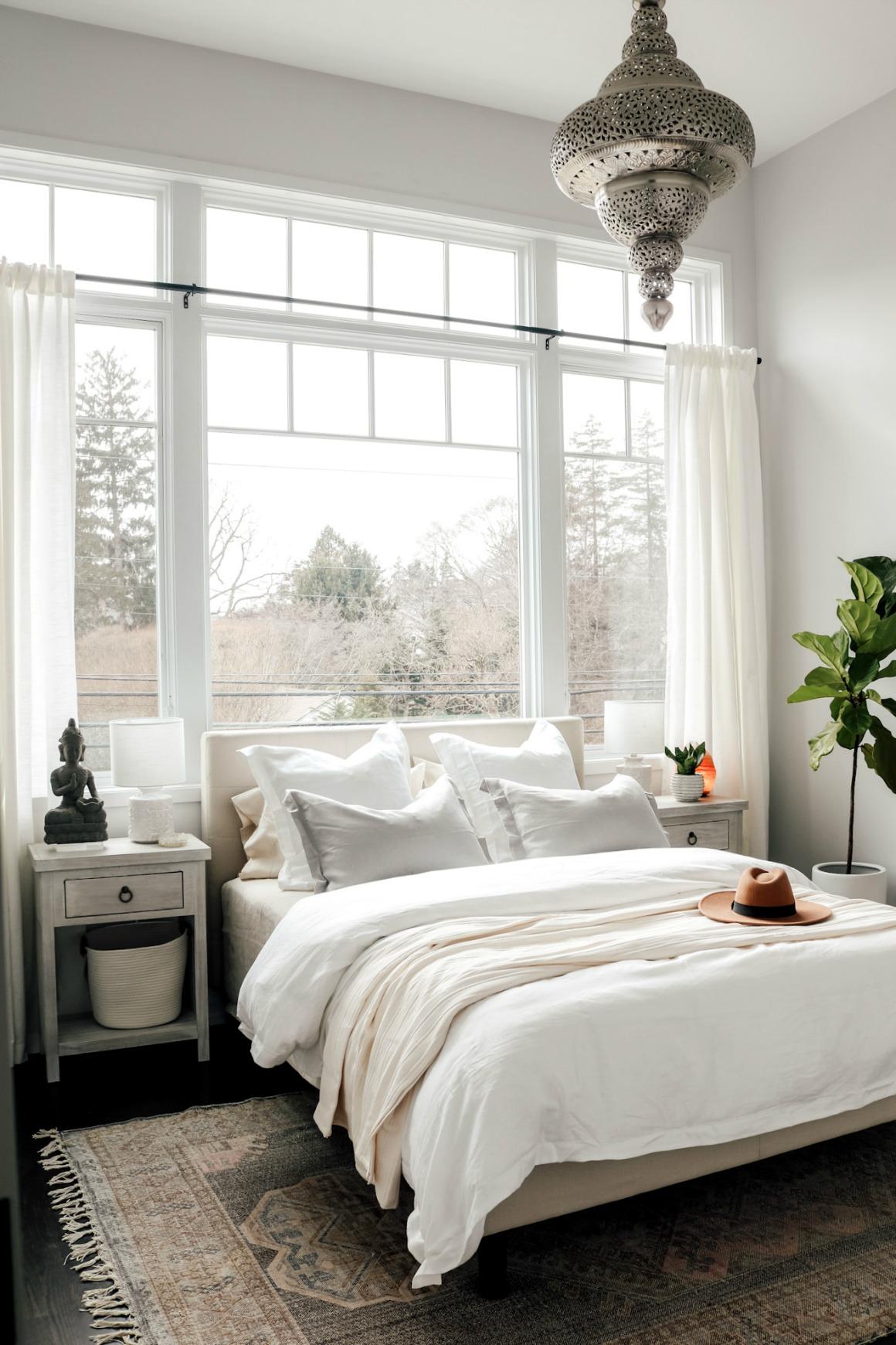 White Boho Master Bedroom Makeover - Nesting With Grace on Boho Master Bedroom Ideas  id=36164