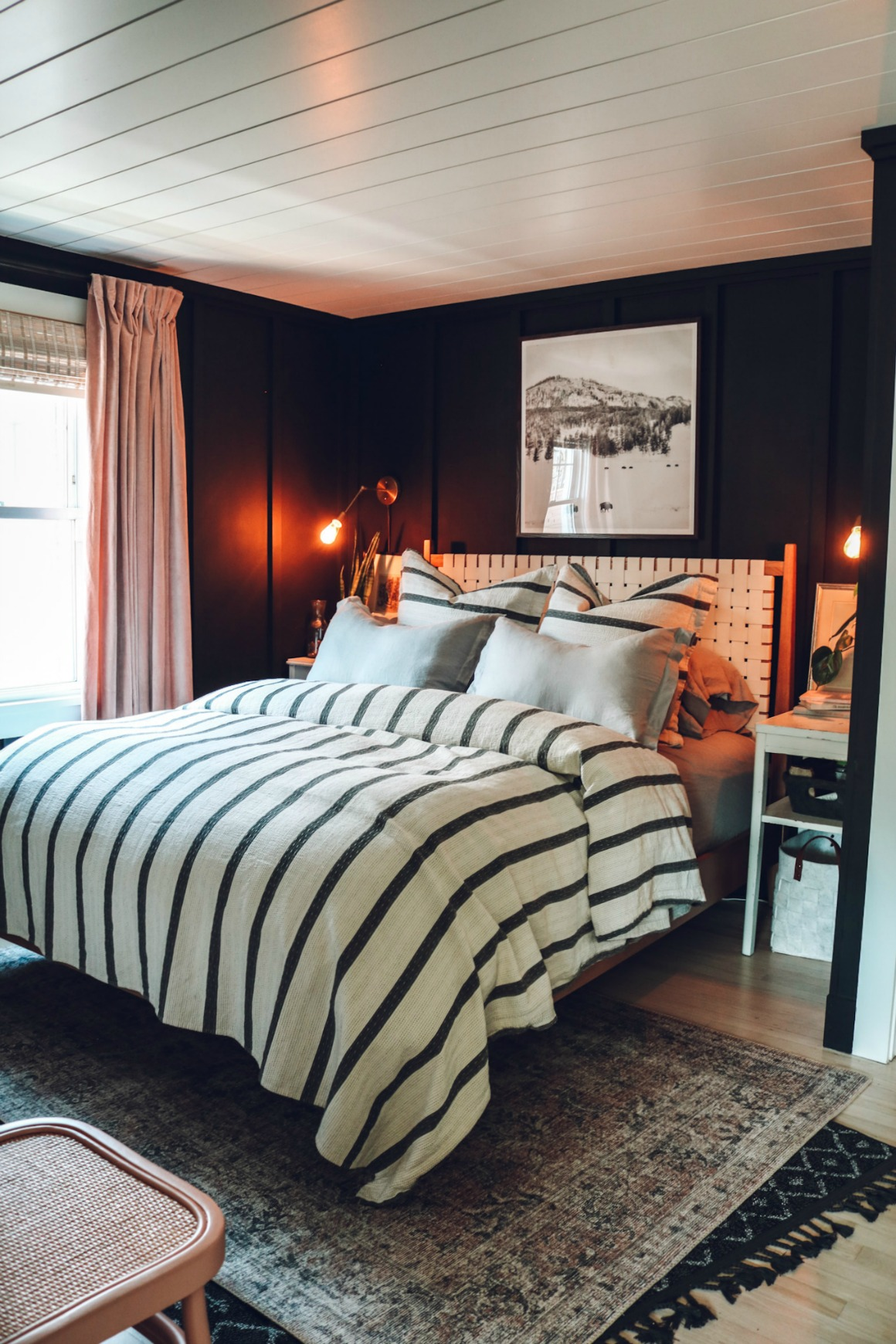 Cozy Master Bedroom with Black Walls