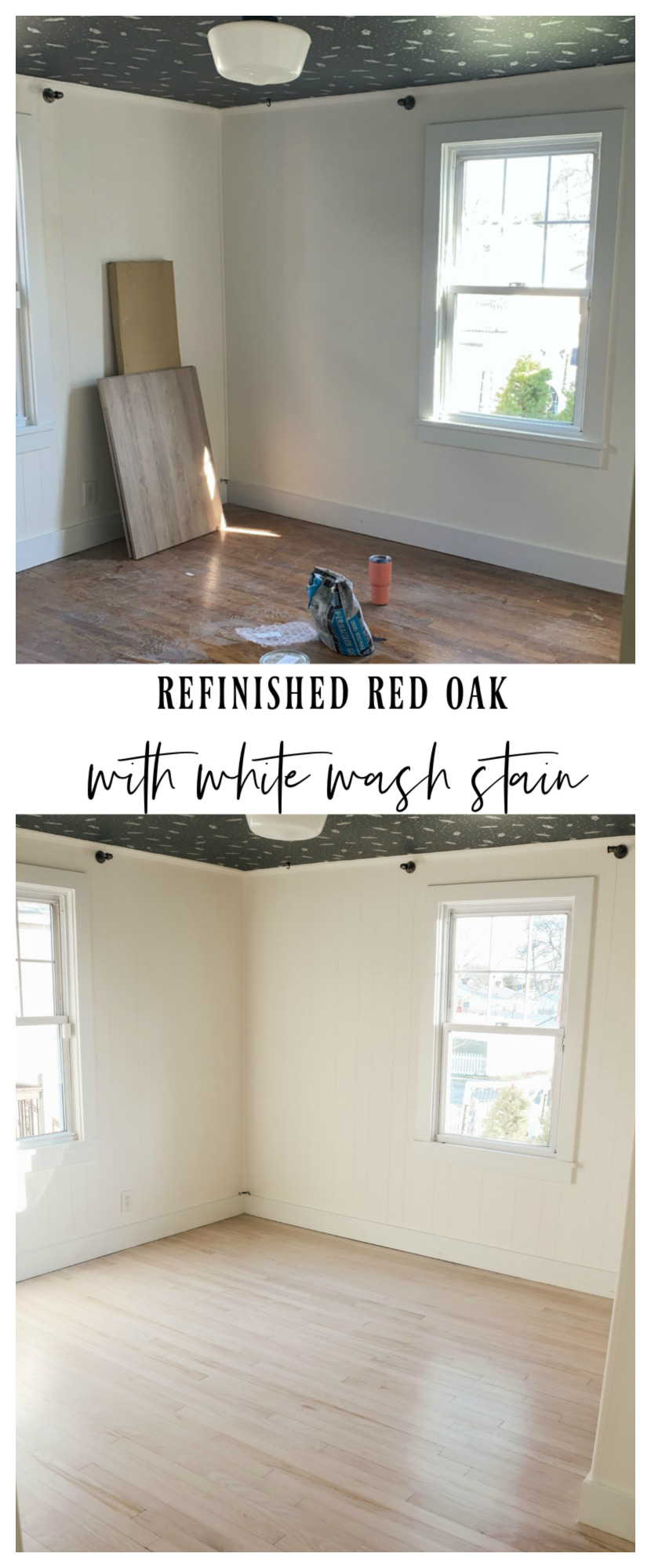How we refinished our red oak floors to white wash