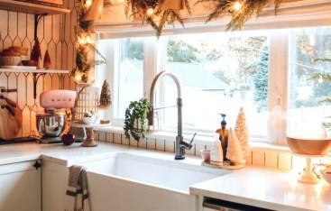 Christmas Decor- Garland around windows & Christmas Tree in Basket