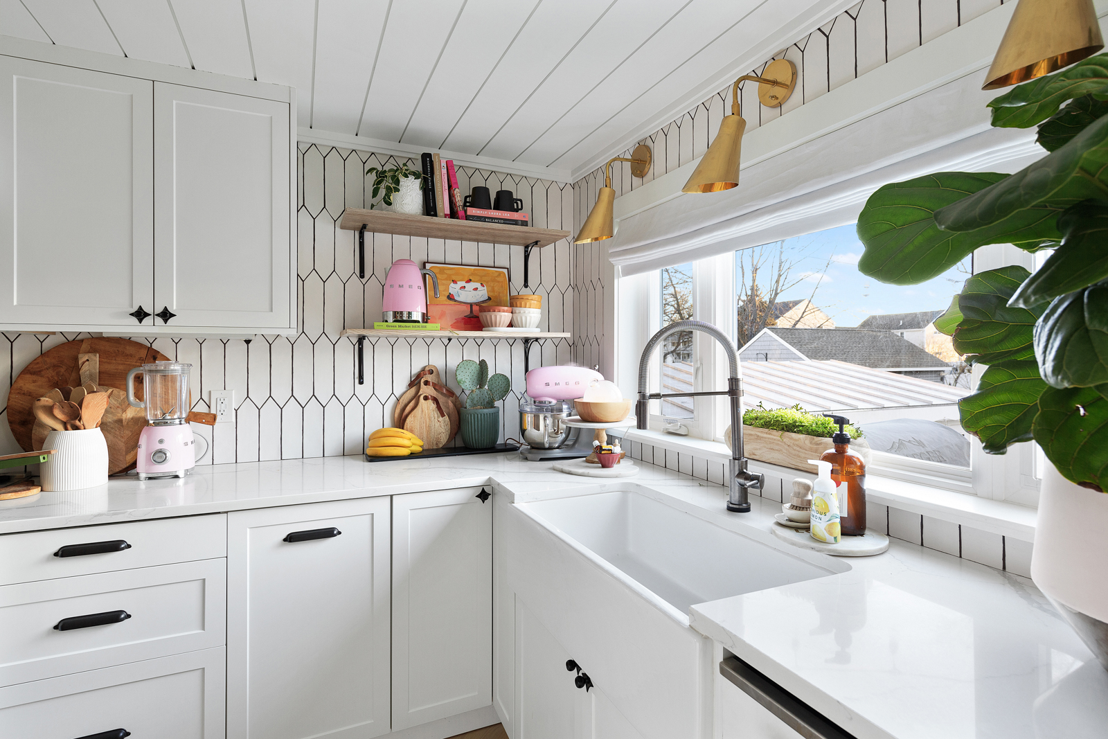 Tour our Small 1300 Square Foot Cape Small House Ideas White Shake Shingle Home Pink front door White Kitchen