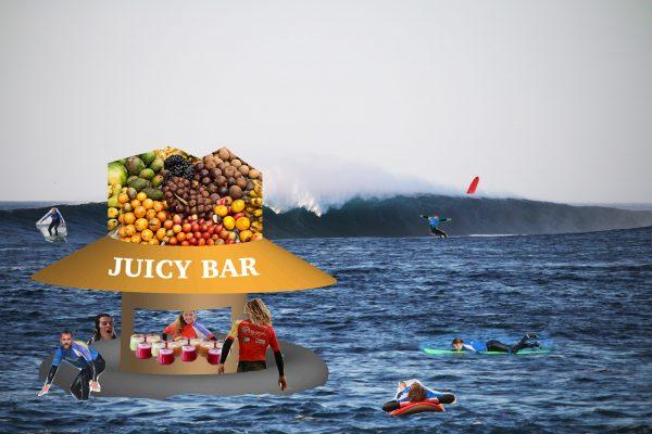 Floating juice bar next to a surf break