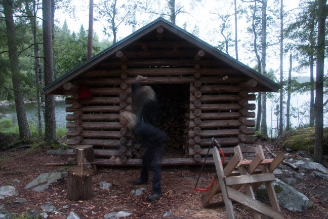 23:35. Many of the shelters have wood sheds. Wood for campfire is provided but it's your job to saw and chop some ready for the next campers. They might need it urgently.