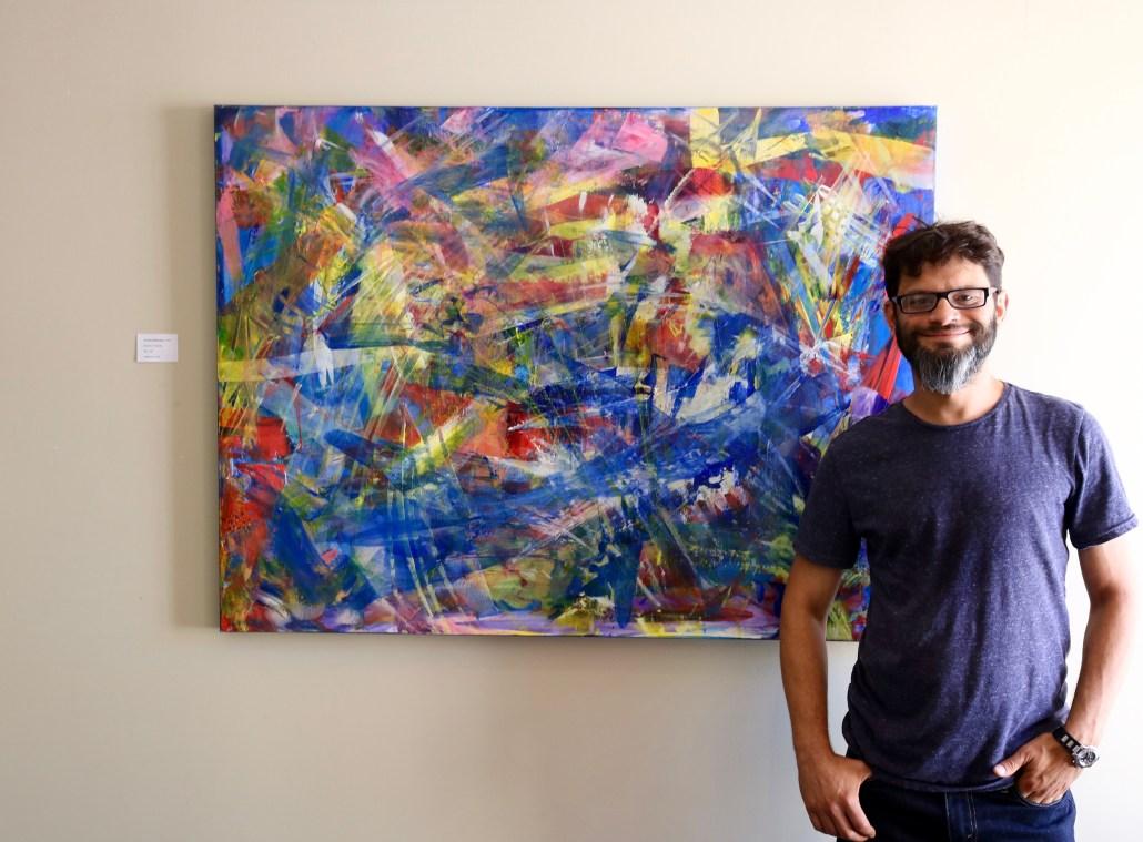 Los Angeles artist painter Nestor Toro attending his solo show July 2016