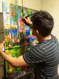 Abstract artist - Nestor Toro in his Los Angeles studio