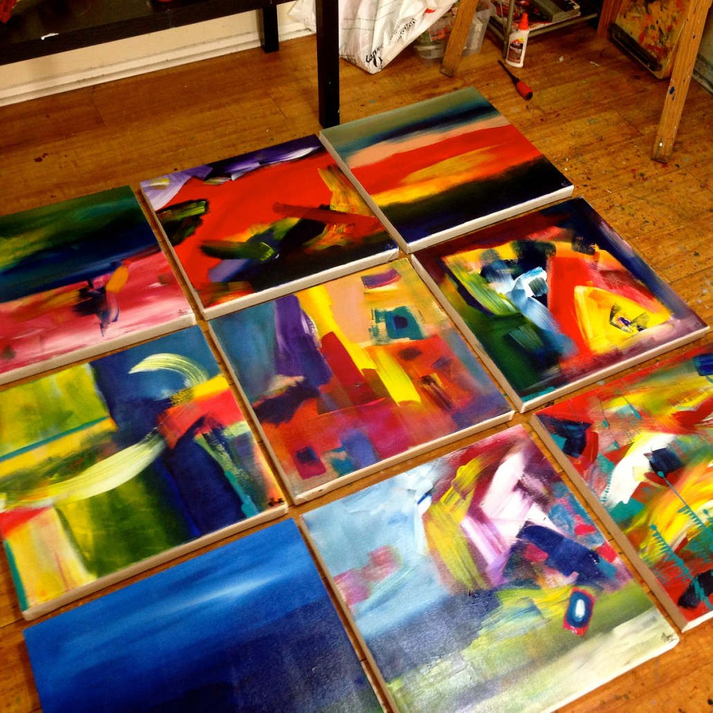 """Los Angeles artist Nestor Toro's series of 9 paintings on 20"""" x 20"""" canvases which is called """"9 1/2 Hours"""""""