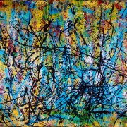 "SOLD artwork by artist Nestor Toro ""MidAir Scattering (GYRE)"" SOld"