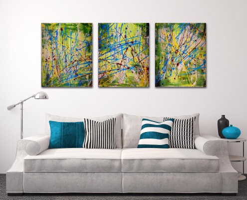 SOLD - artwork - Interrupted abstract landscape I- Tryptic (2016) by abstract artist Los Angeles Painter Nestor Toro