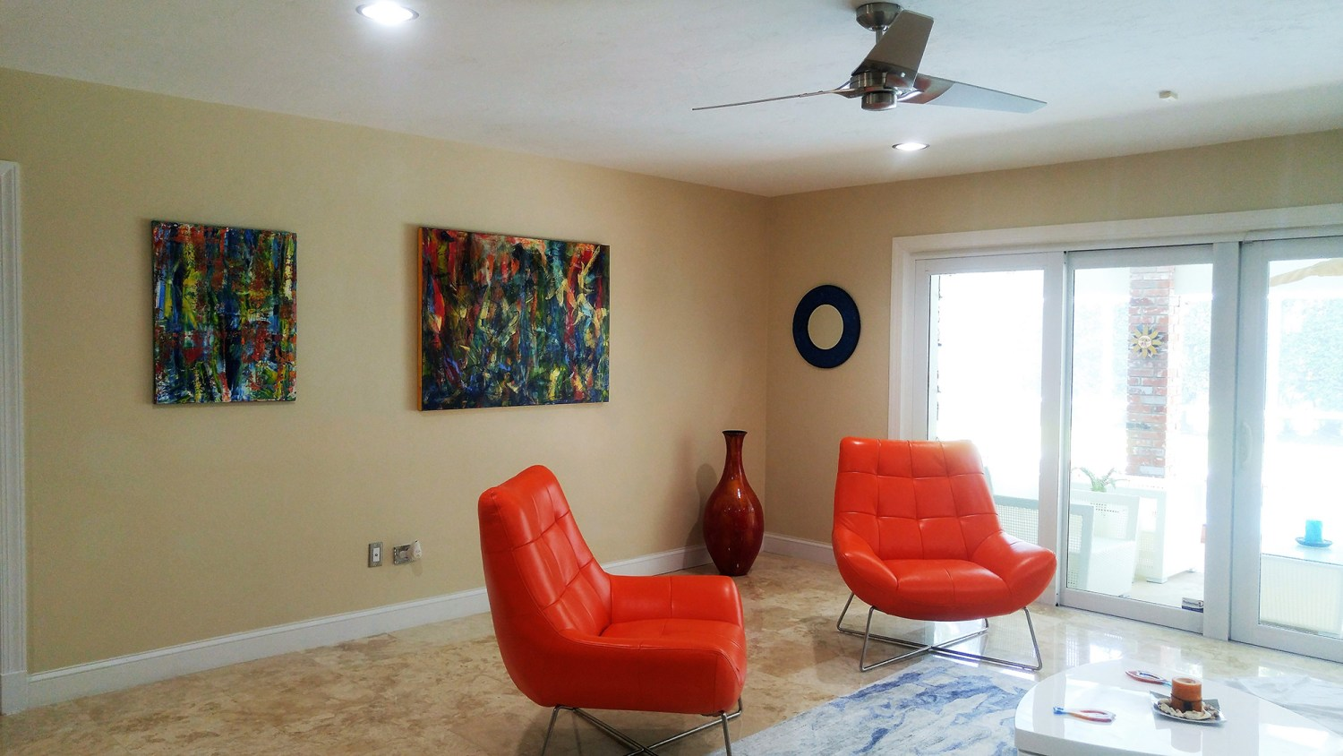 SOLD artwork displayed in the collector's home in Florida. They look amazing in that bright cheerful room!