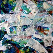 SOLD - Artist's description: Many layers of vibrant transparent acrylics creating shapes and forms overlapping to create an intricate background. Finished with gestural strokes, iridescent paint and gloss finish. High quality Golden acrylics and mediums. UV protected this is a very glossy piece. Materials used: Acrylic paint