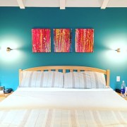 SOLD - Interrupted Abstract Fantasy V Painting by Nestor Toro here shown installed in collector's home