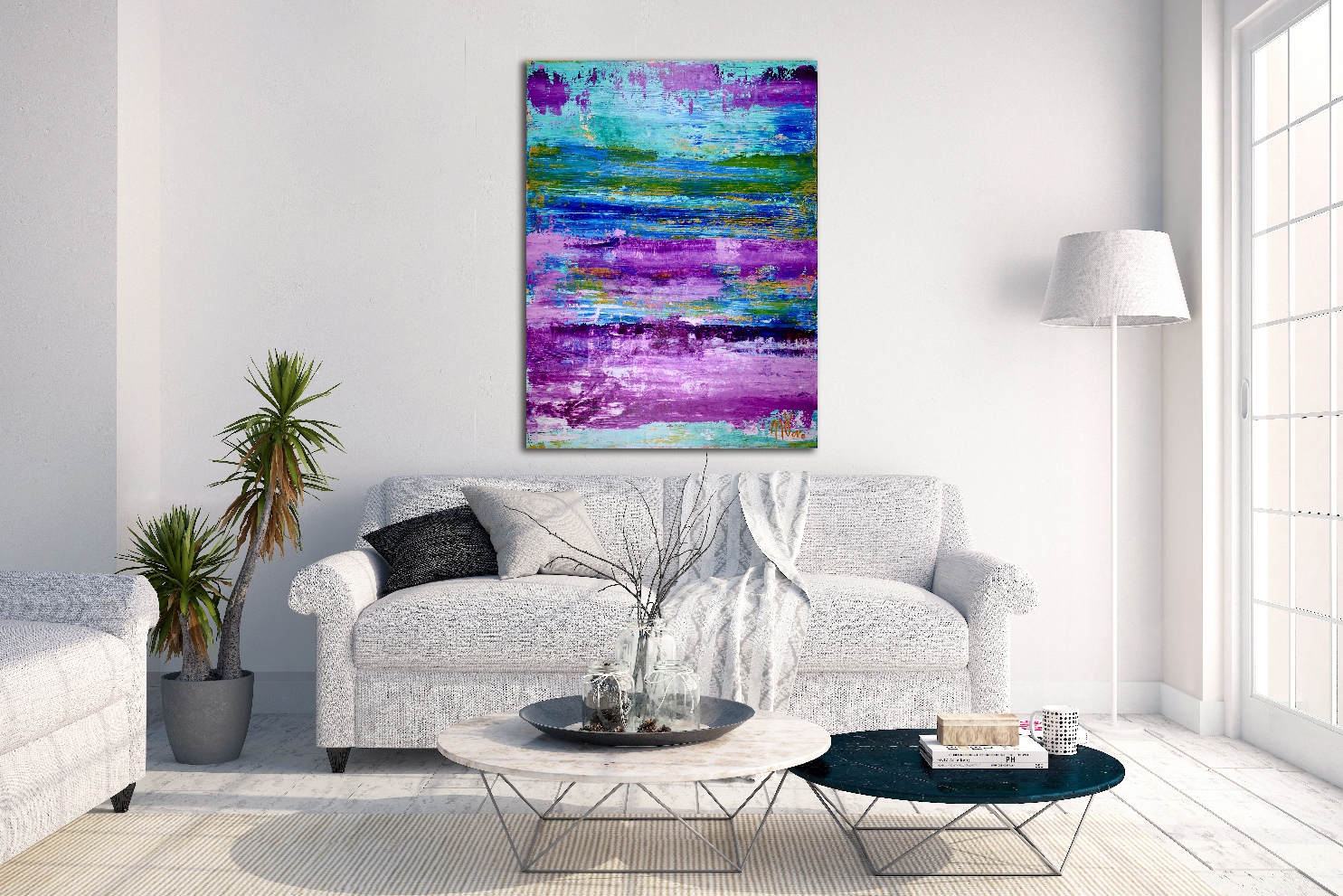 Frozen Turquoise (Purple Colorfield) by artist Nestor Toro
