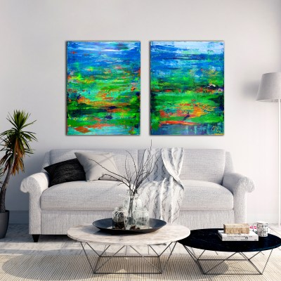 Interrupted Abstract Forrest - diptych (2016) Acrylic painting by Nestor Toro
