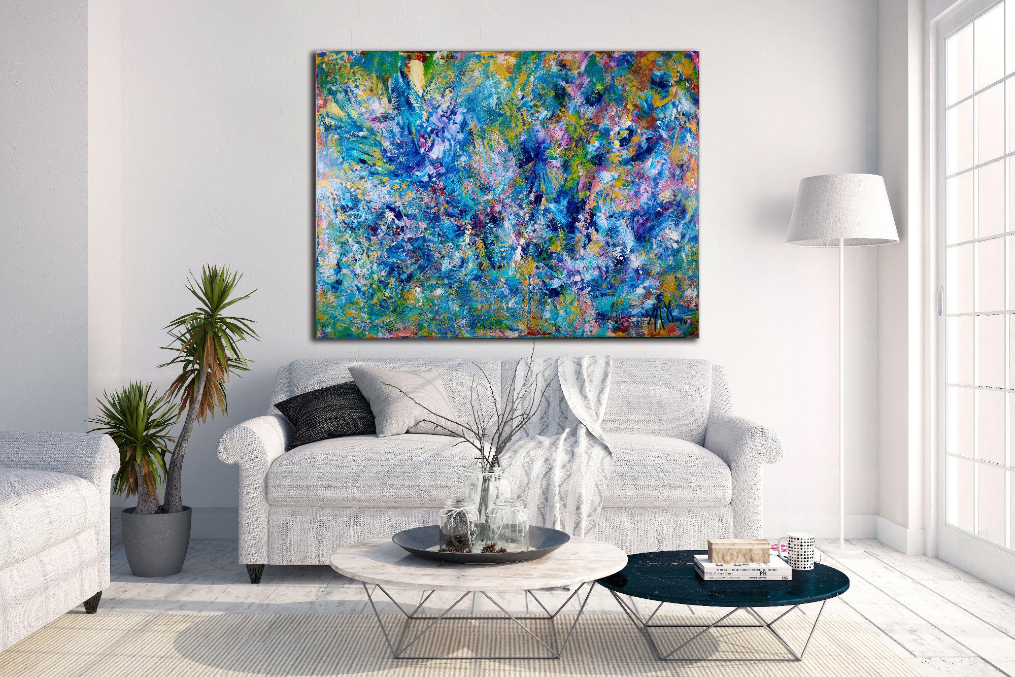 Blue Reunion - Organic Abstract - DEEP EDGE READY TO HANG (2016) Acrylic painting by Nestor Toro