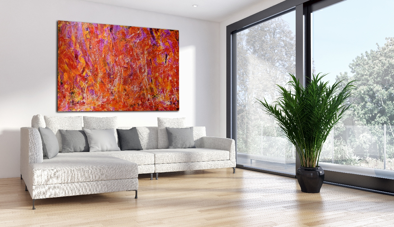 SOLD - Crystalline Pink and Golden Fields by Nestor Toro in Los Angeles