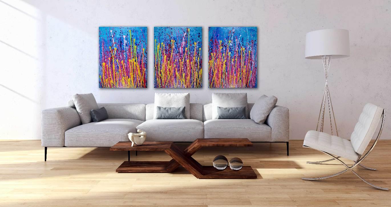 Garden Interrupted - 3 canvas work by Nestor Toro