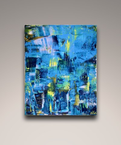Vanishing Blue panorama (2018) Acrylic painting by Nestor Toro