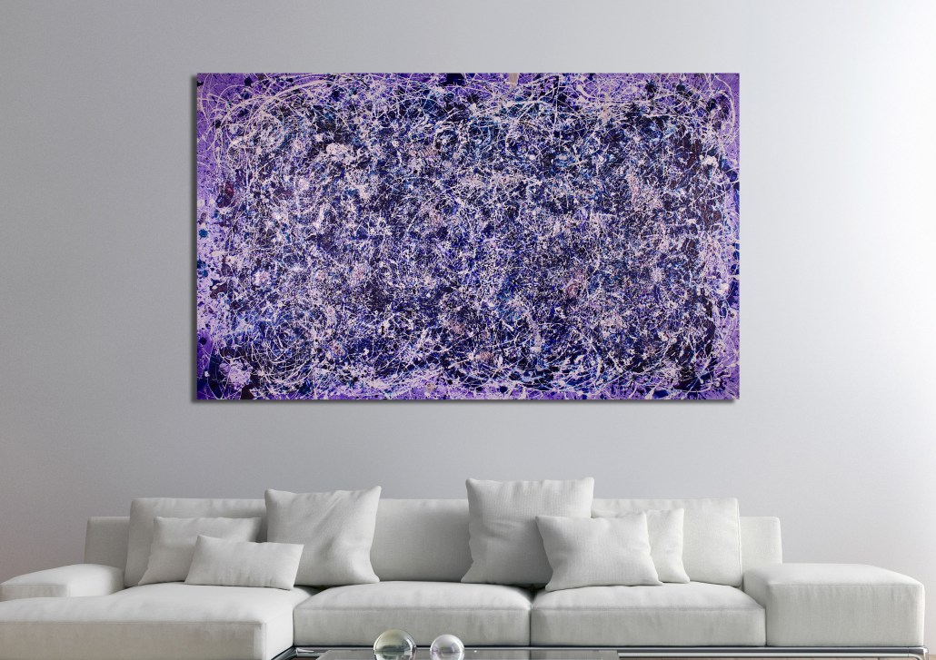 SOLD - Purple Display of Affection (With Blue and Silver) (2018) Acrylic painting by Nestor Toro