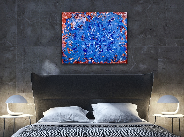 Blue Satin Waves (2018) Acrylic painting by Nestor Toro in L.A.