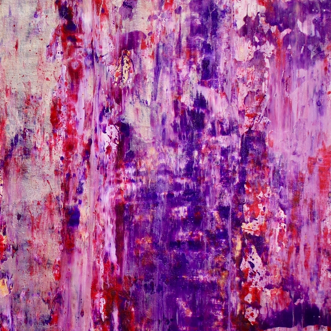 DETAIL- Purple storm with silver light (2018) abstract art Acrylic painting by Nestor Toro
