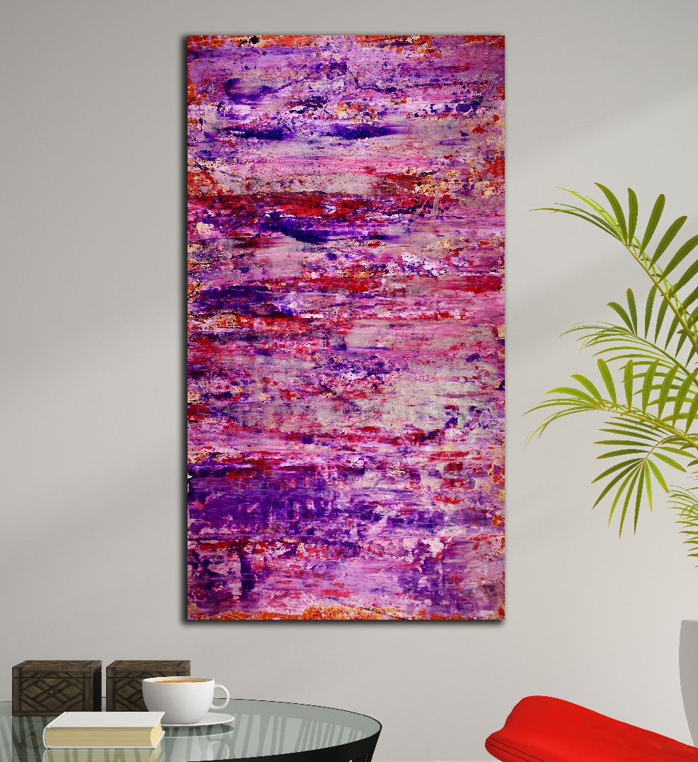 SOLD - Purple storm with silver light (2018) abstract art Acrylic painting by Nestor Toro
