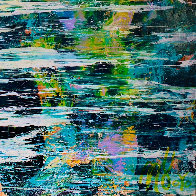 Signature - Behind the secrets (2018) abstract art Acrylic painting by Nestor Toro