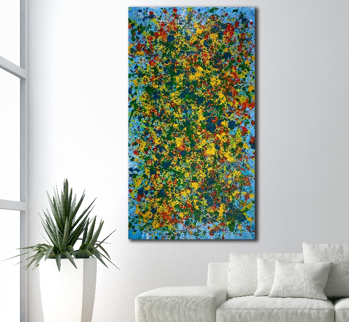 Radical color spectra- Free Shipping! (2018) abstract art Acrylic painting by Nestor Toro