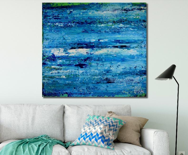 Blue Satin Ocean (2018) abstract art Acrylic painting by Nestor Toro