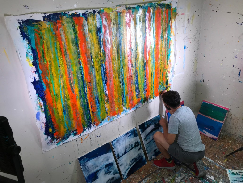 Artist Nestor Toro singing his work entitled Fearlessness